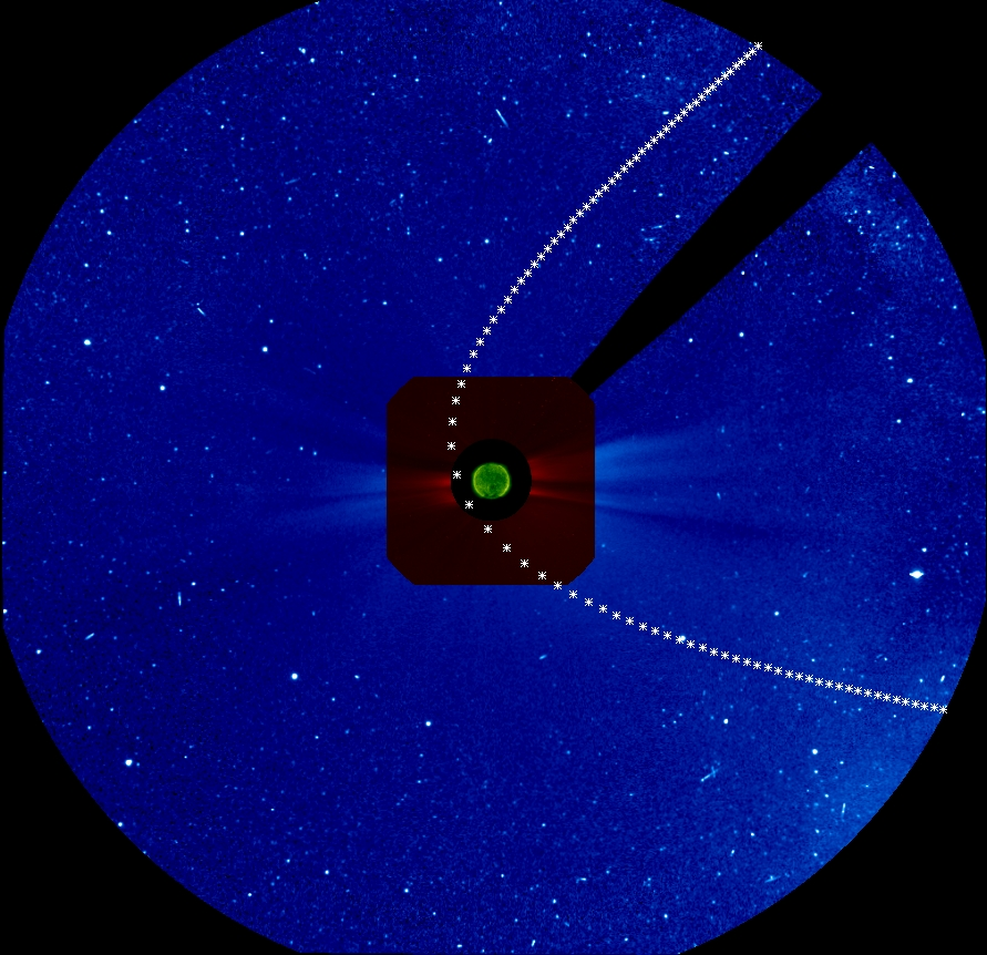 Predicted position of Comet ISON in SOHO/LASCO